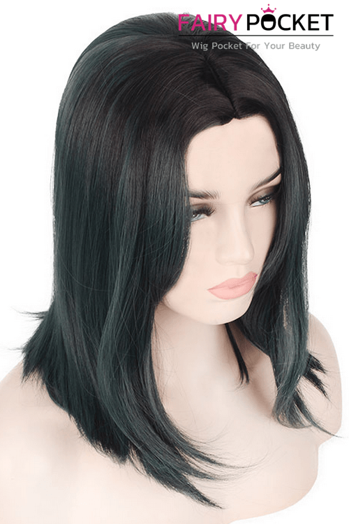 Medium Wavy Black to Dark Green Basic Cap Wig
