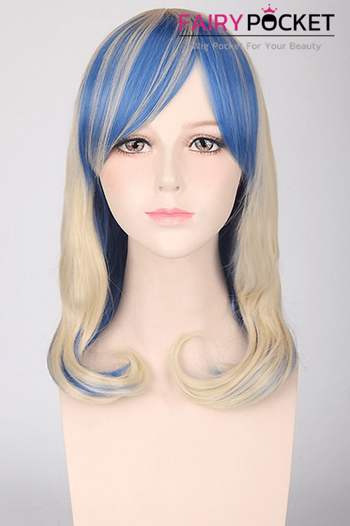 Medium Wavy Blonde Mixed Blue Basic Cap Wig