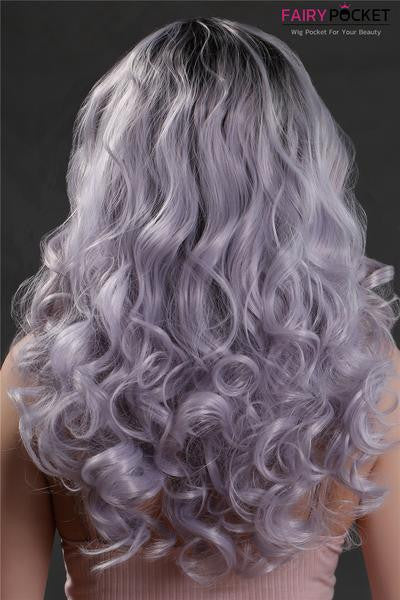 Nature Black To Silver Gray Wavy Synthetic Lace Front Wig