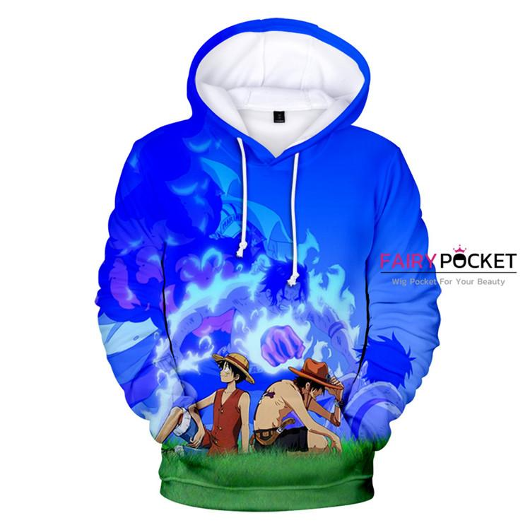 One Piece Monkey D. Luffy & Portgas D Ace Hoodie - C