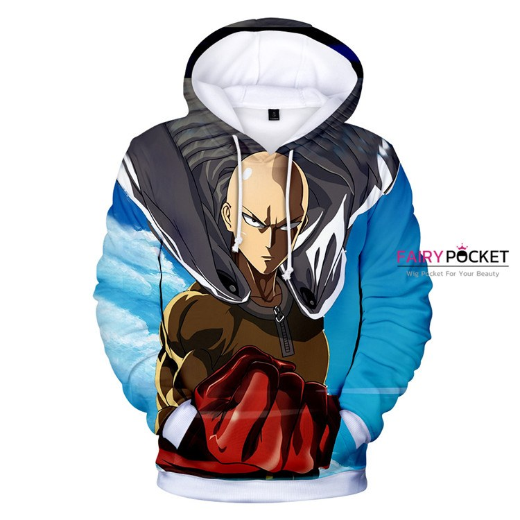 One Punch Man Saitama Blue Hoodie