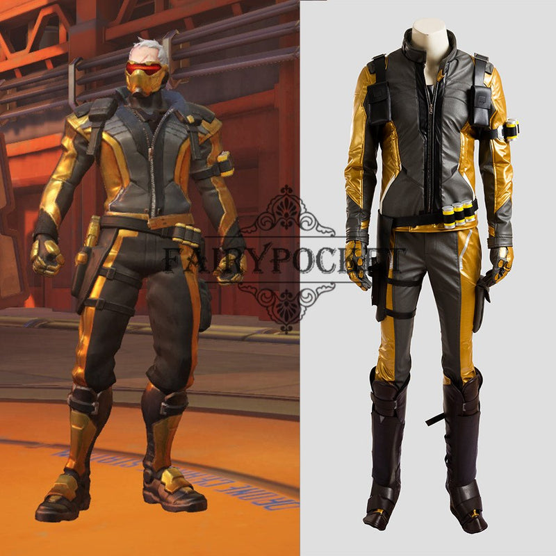 Overwatch Soldier 76 Cosplay Costume - Gold