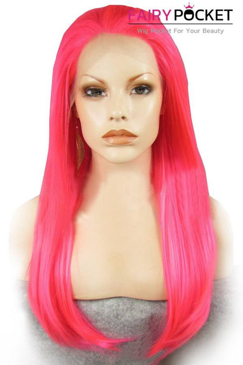 Pink Long Straight Lace Front Wig