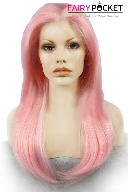 Pearl Pink Long Straight Lace Front Wig