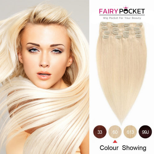 Platinum Blonde Straight Clip In Remy Human Hair Extentions