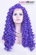 Slate Blue Long Curly Lace Front Wig
