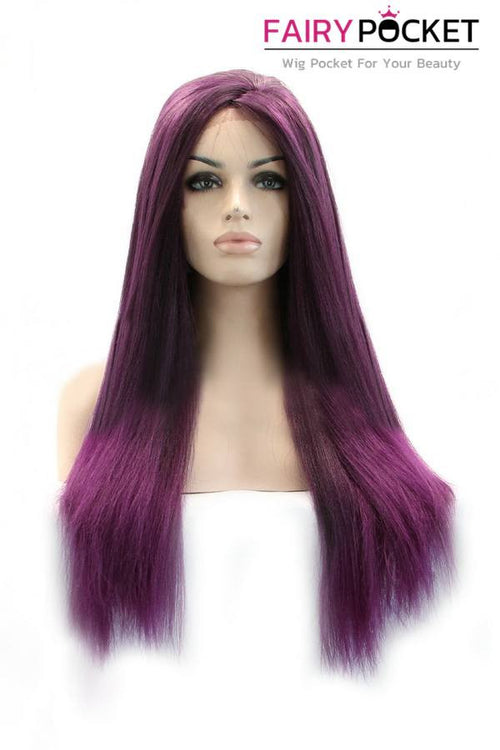 Purple Long Straight Lace Front Wig