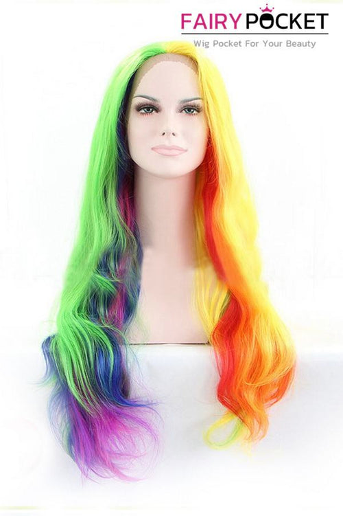 Rainbow Ombre Long Straight  Lace Front Wig
