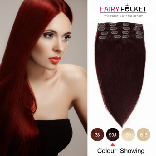 Red Wine Straight Clip In Remy Human Hair Extentions