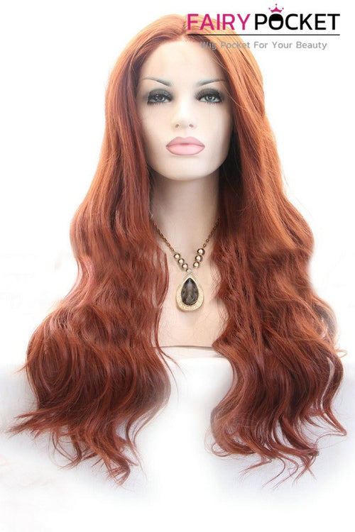 Red Brown Long Wavy Lace Front Wig