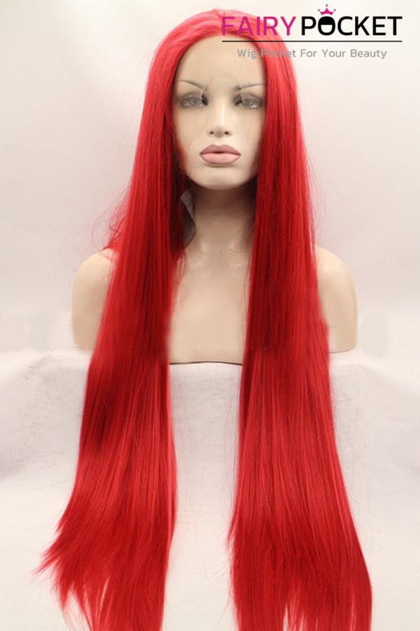 Poppy Red Long Straight Lace Front Wig
