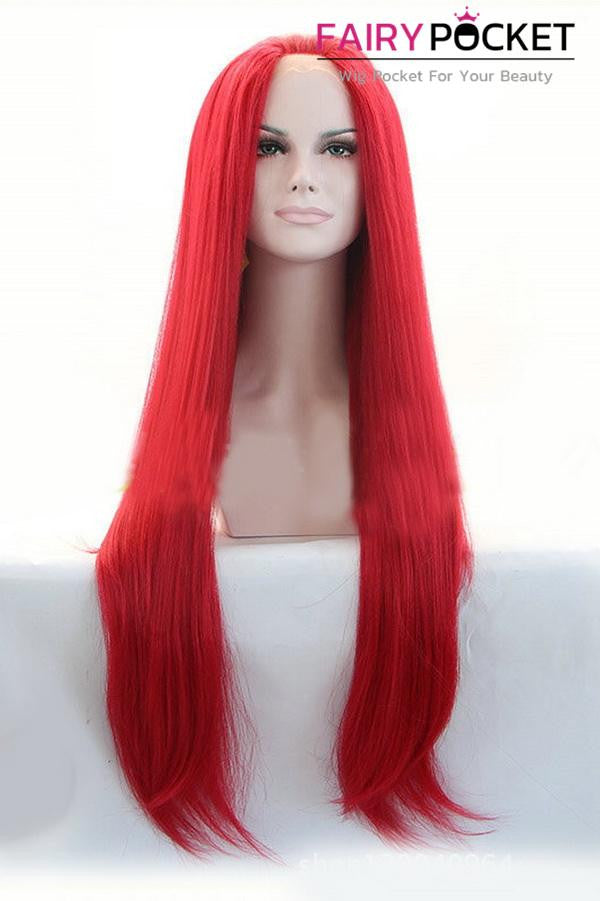 Red Long Straight Lace Front Wig