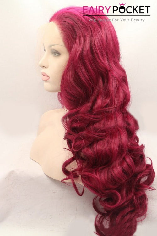 Red Long Wavy Lace Front Wig