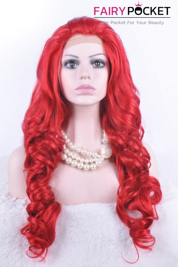 Poppy Red Long Wavy Lace Front Wig