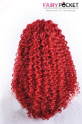 Red  Medium Curly Lace Front Wig