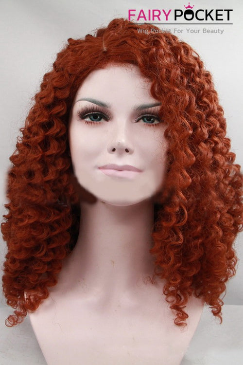Reddish Brown Medium Curly Lace Front Wig