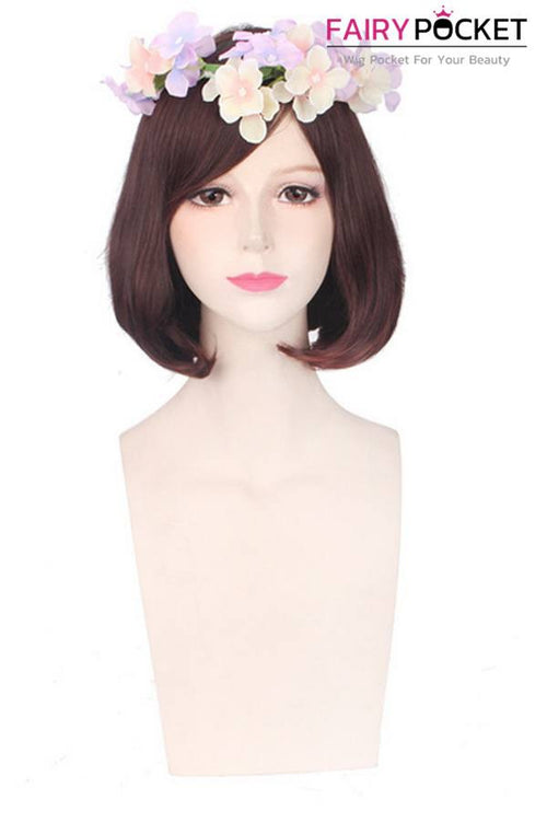 Short Rinka Brown Basic Cap Wig - Oblique Bangs