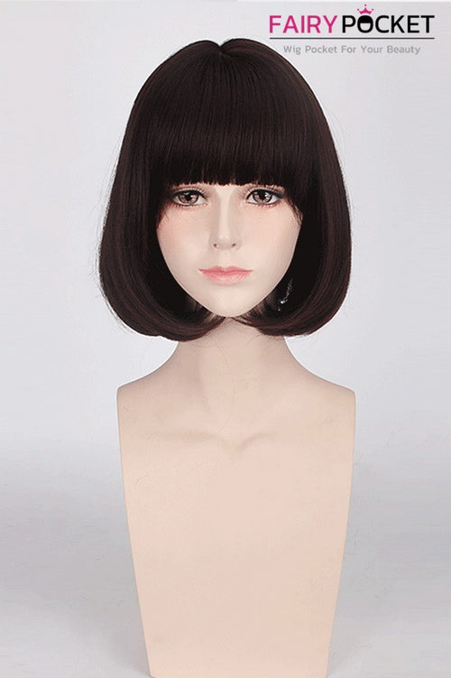 Short Rinka Flat Bangs Brown Basic Cap Wig
