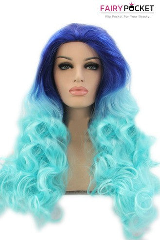 Royal Blue to Cyan Ombre Long Wavy Lace Front Wig