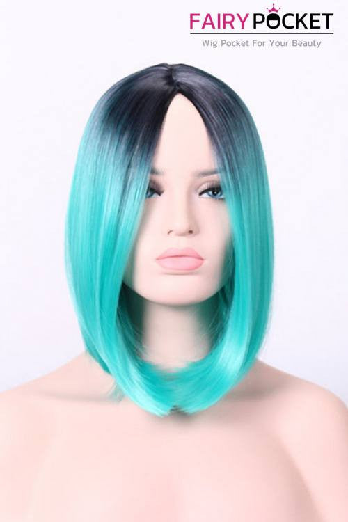 Short Bob Black Root to Bluegrass Green Basic Cap Wig