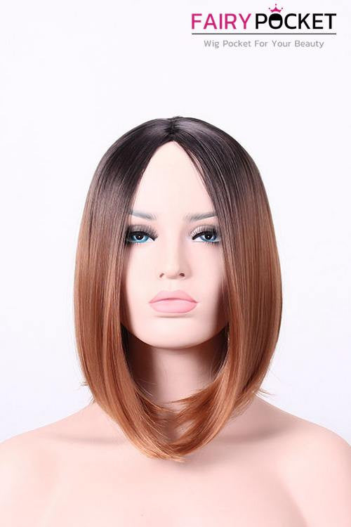 Short Bob Black Root to Brown Basic Cap Wig