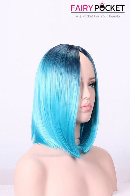 Short Bob Black Root to Calypso Blue Basic Cap Wig