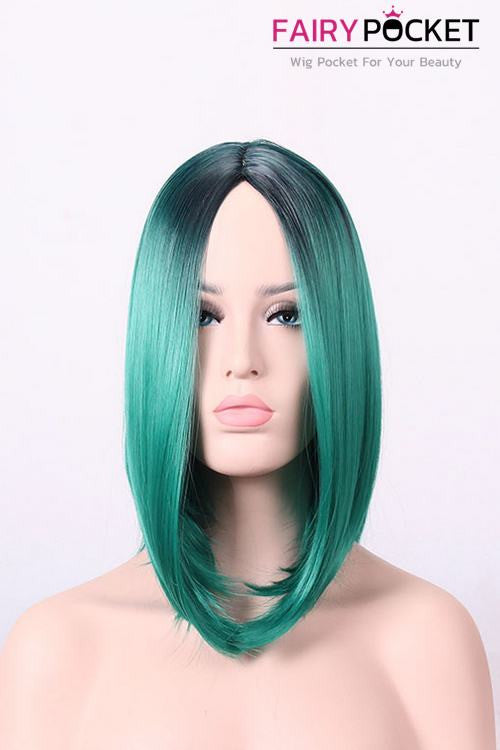 Short Bob Black Root to Dark Green Basic Cap Wig