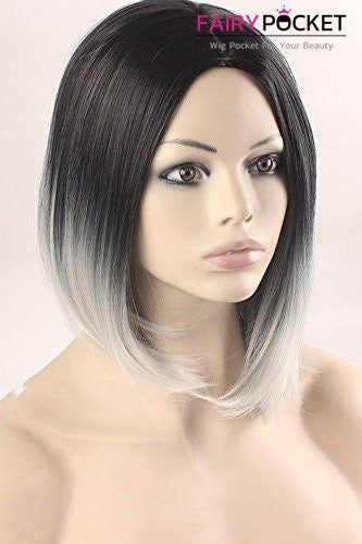 Short Bob Black Root to Grey Basic Cap Wig