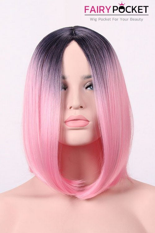 Short Bob Black Root to Pink Basic Cap Wig