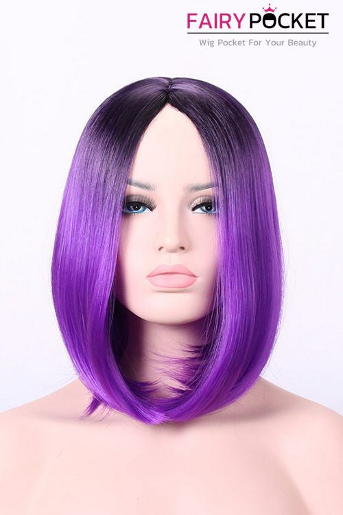 Short Bob Black Root to Purple Basic Cap Wig
