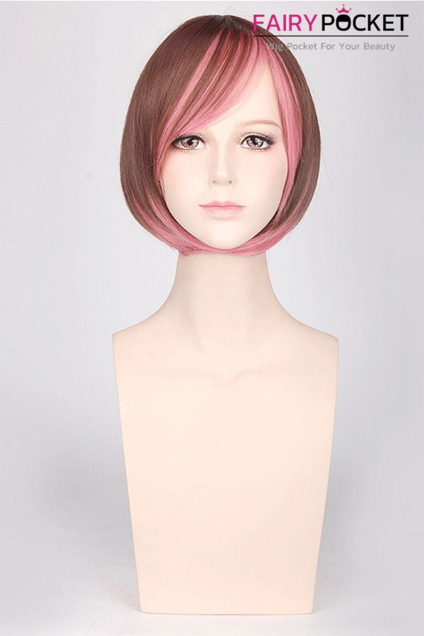 Short Bob Brown To Pink Ombre Basic Cap Wig