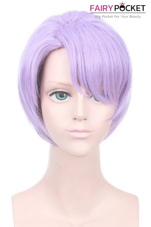 Short Side Weft Bangs Straight Purple Basic Cap Wig