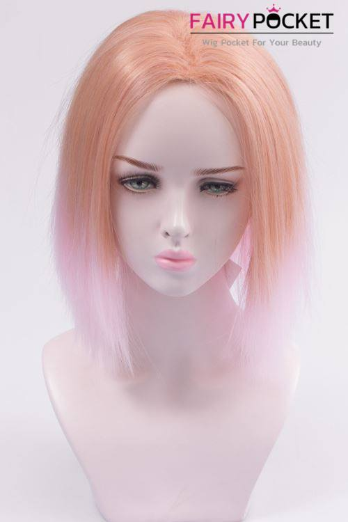 Short Straight Flesh Tone to Electric Pink Ombre Basic Cap Wig