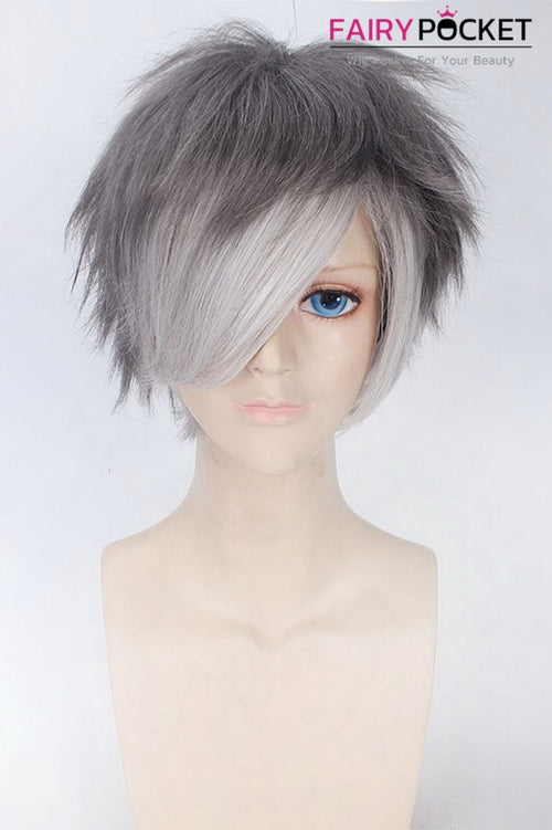 Short Straight Grey to White Ombre Basic Cap Wig