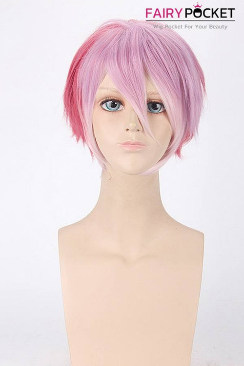 Short Straight Pink to Red Basic Cap Wig