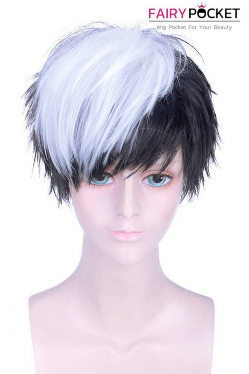 Short Straight White and Black Basic Cap Wig