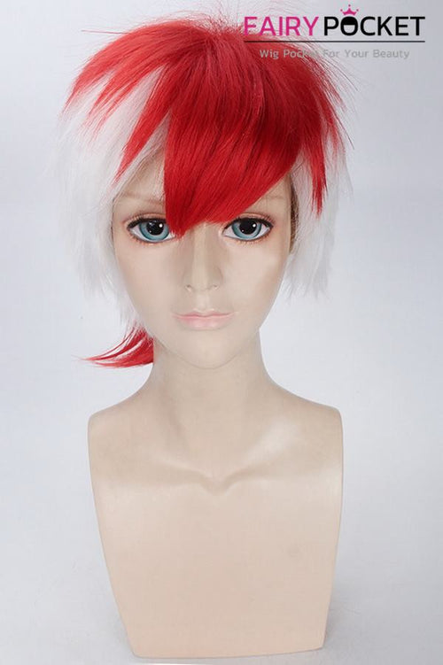 Short Straight White and Red Basic Cap Wig