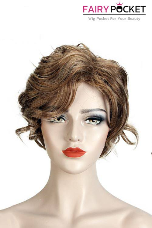 Short Wavy Brown Basic Cap Wig - B
