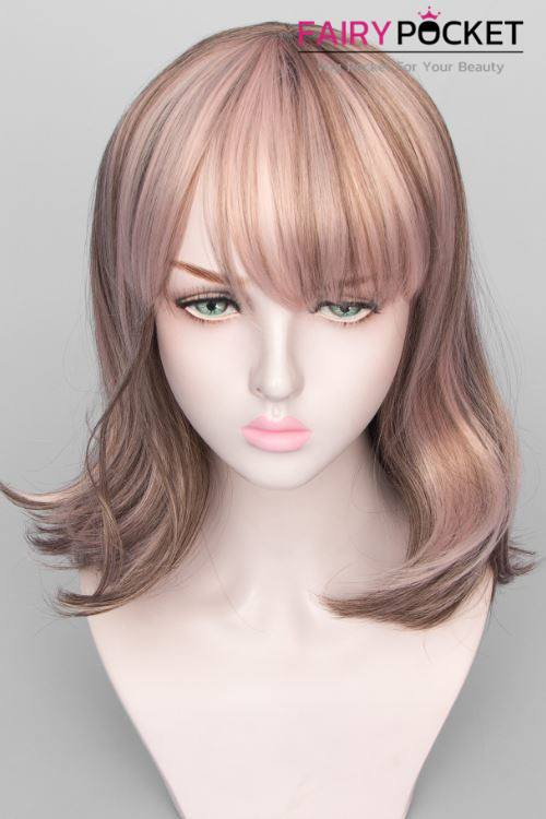 Short Wavy Brown and Pink Basic Cap Wig