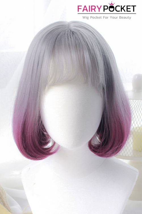 Short Wavy Grey to Royal Fuchisia Basic Cap Wig
