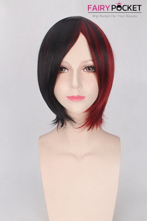 Short Wavy Half Black and Half Red Basic Cap Wig