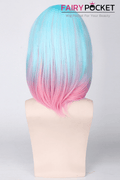 Short Wavy Neon Blue to Pink Ombre Basic Cap Wig