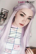 Silver Purple Long Satright Synthetic Lace Front Wig