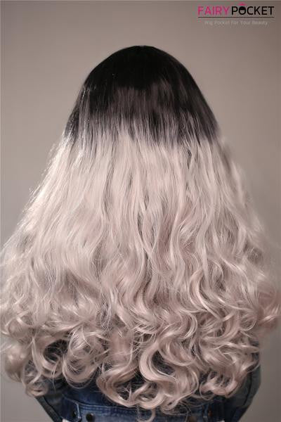 Soft Black To Cold Silver Ombre Wavy Synthetic Lace Front Wig