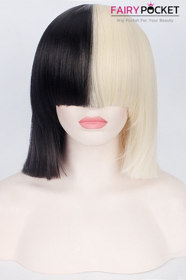 Singing Star Sia Short Straight Half Black and Half Blonde Cosplay Wig