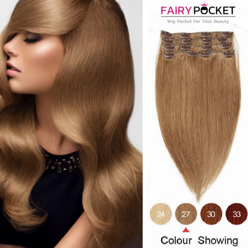 Strawberry Blonde Straight Clip In Remy Human Hair Extentions