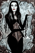 The Addams Family Morticia Anime Cosplay Wig