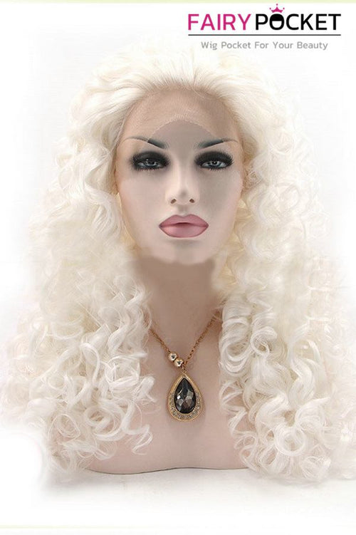 White Long Curly Lace Front Wig
