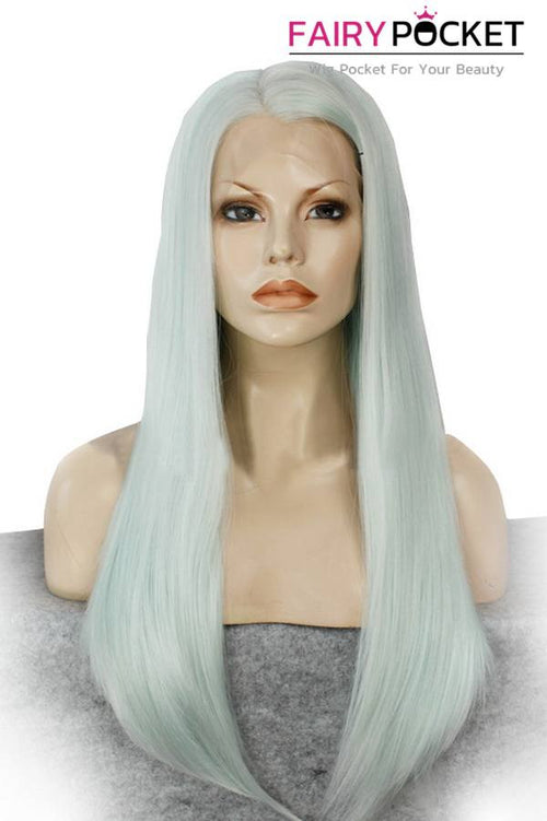 White Long Straight Lace Front Wig