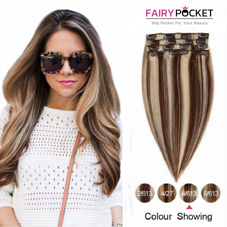 Blonde Mix Dark Brown Straight Clip In Remy Human Hair Extentions
